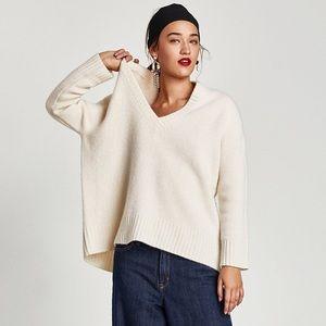 Zara Oversized V Neck Sweater